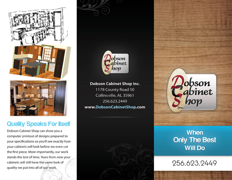 Outside of Dobson Cabinets' brochure