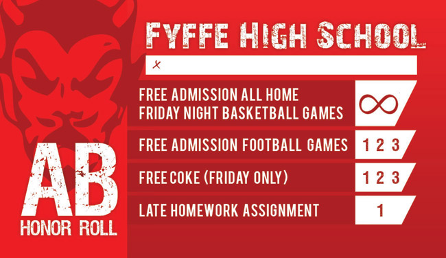 Fyffe AB Honor Roll Card front