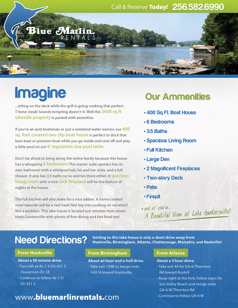 Blue Marlin Rentals flyer